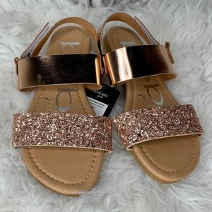 bebe Shoes - NWT bebe Metallic Rose Gold Sparkle Sandal 13